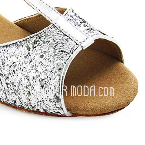 Frauen Kinder Kunstleder Funkelnde Glitzer Heels Sandalen Flache Schuhe Latin mit T-Riemen Tanzschuhe (053013437)