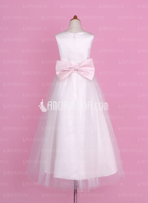A-Line/Princess Floor-length Flower Girl Dress - Satin/Tulle Sleeveless Scoop Neck With Sash/Flower(s)/Bow(s) (010002142)