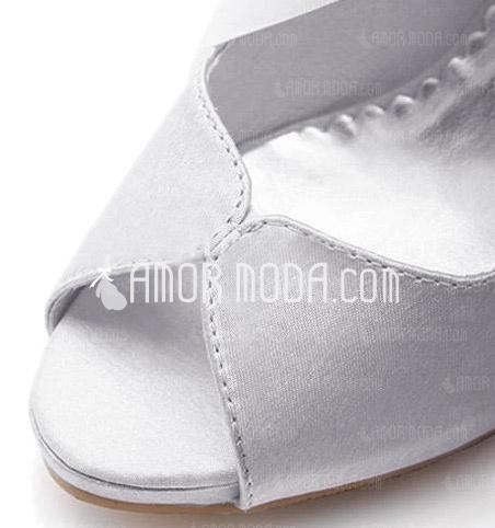 Vrouwen Satijn Cone Heel Peep Toe Plateau Sandalen met Ribbon Tie (047005035)