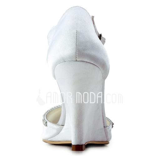 Vrouwen Satijn Wedge Heel Peep Toe Sandalen Wedges met Kralen (047011824)