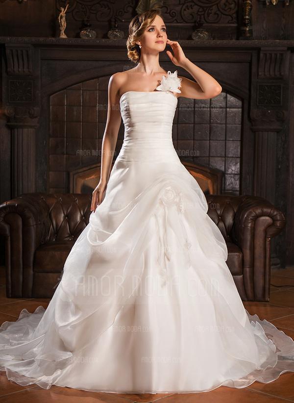 Ball-Gown One-Shoulder Court Train Organza Wedding Dress With Ruffle Flower(s) (002022678)