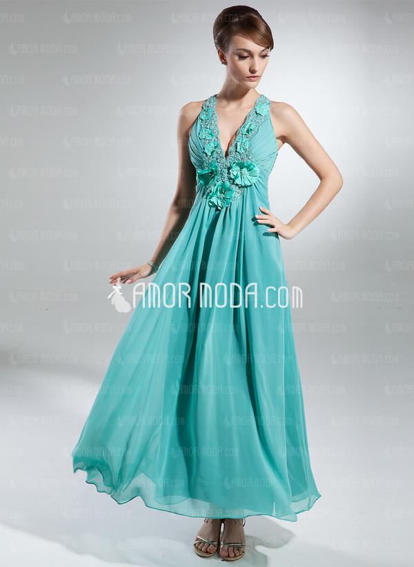 A-Linie/Princess-Linie V-Ausschnitt Knöchellang Chiffon Festliche Kleid mit Rüschen Perlen verziert Blumen (020015328)