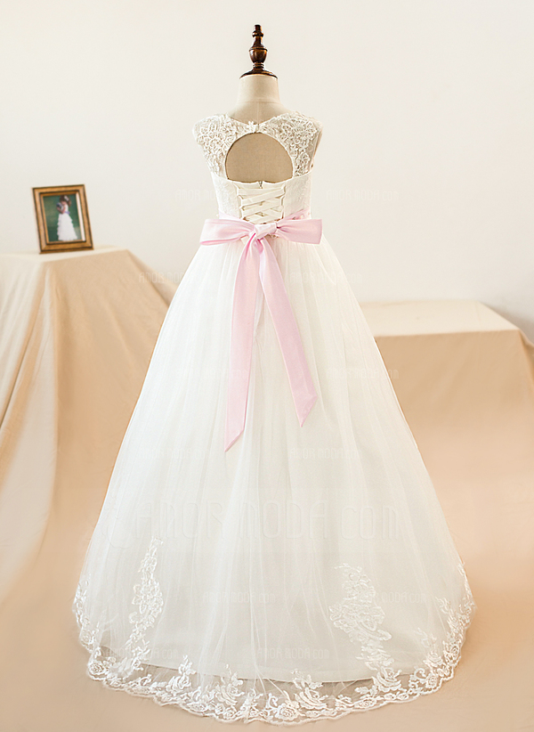 Scoop Neck Floor-Length Tulle Junior Bridesmaid Dress With Sash Beading Bow(s) (009126270)
