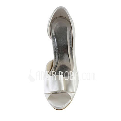Frauen Satiniert Kegel Absatz Peep Toe Plateauschuh Sandalen mit Flakem (047015269)