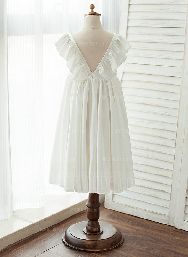 A-Line Tea-length Flower Girl Dress - Chiffon/Satin Sleeveless V-neck (010122555)