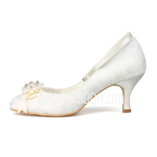 Women's Lace Spool Heel Closed Toe Pumps With Imitation Pearl (047011820)