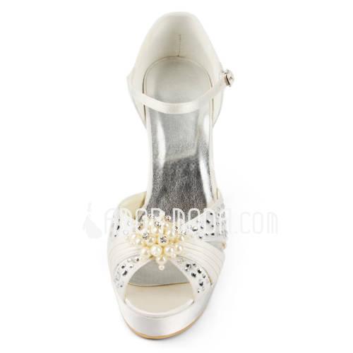Vrouwen Satijn Stiletto Heel Plateau Sandalen met Imitatie Parel Bergkristal (047011804)