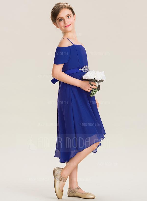 A-Linie Rechteckiger Ausschnitt Asymmetrisch Chiffon Kleid für junge Brautjungfern mit Perlstickerei Schleife(n) (009173279)