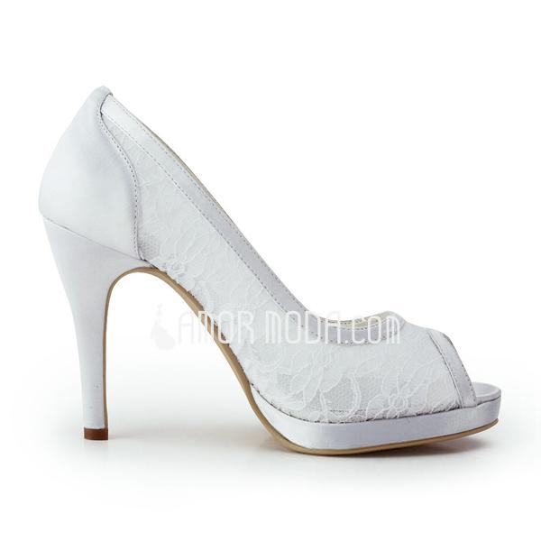 Vrouwen Kant Satijn Cone Heel Peep Toe Plateau Sandalen (047011847)