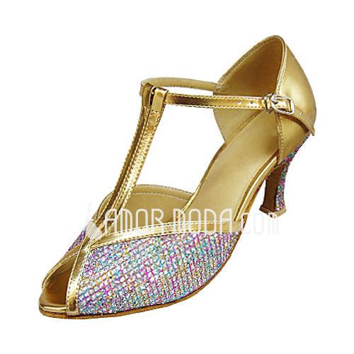 Vrouwen Kunstleer Sprankelende Glitter Hakken Sandalen Latijn met T-Riempjes Dansschoenen (053013310)