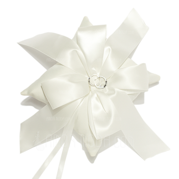 Elegant Ivory Ring Pillow With Ribbons (103018230)
