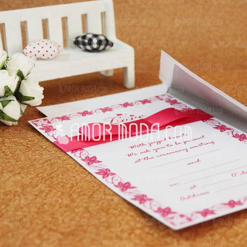Classic Style Flat Card Invitation Cards With Ribbons (Set of 50) (114030739)