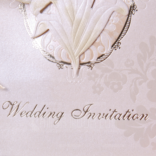 Stile Floreale Side Fold Invitation Cards con Nastri (Set di 50) (114033286)