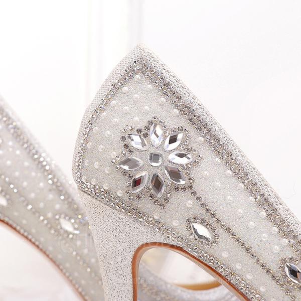 Frauen Microfaser-Leder Stöckel Absatz Geschlossene Zehe Absatzschuhe mit Stich Spitzen Kristall Perle (047190333)