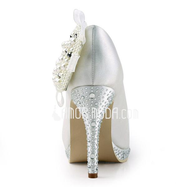 Vrouwen Satijn Cone Heel Closed Toe Plateau Pumps met Imitatie Parel Bergkristal (047011805)