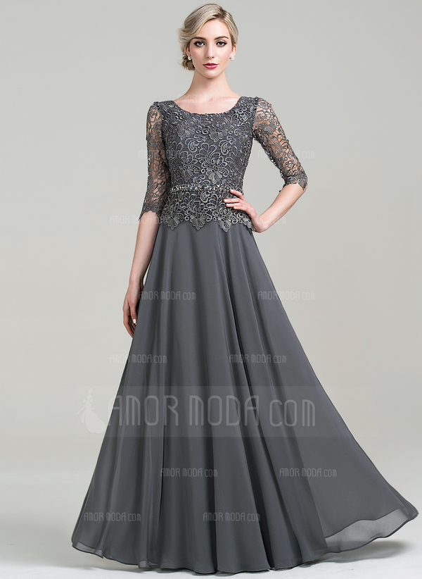 A-Linie/Princess-Linie U-Ausschnitt Bodenlang Chiffon Kleid für die Brautmutter mit Perlstickerei Pailletten (008085303)