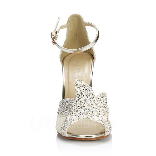 Frauen Kunstleder Stöckel Absatz Sandalen Absatzschuhe Peep Toe mit Funkelnde Glitzer Schnalle Schuhe (087051701)
