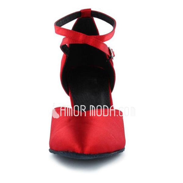 Frauen Satin Heels Absatzschuhe Ballsaal mit Knöchelriemen Tanzschuhe (053021847)