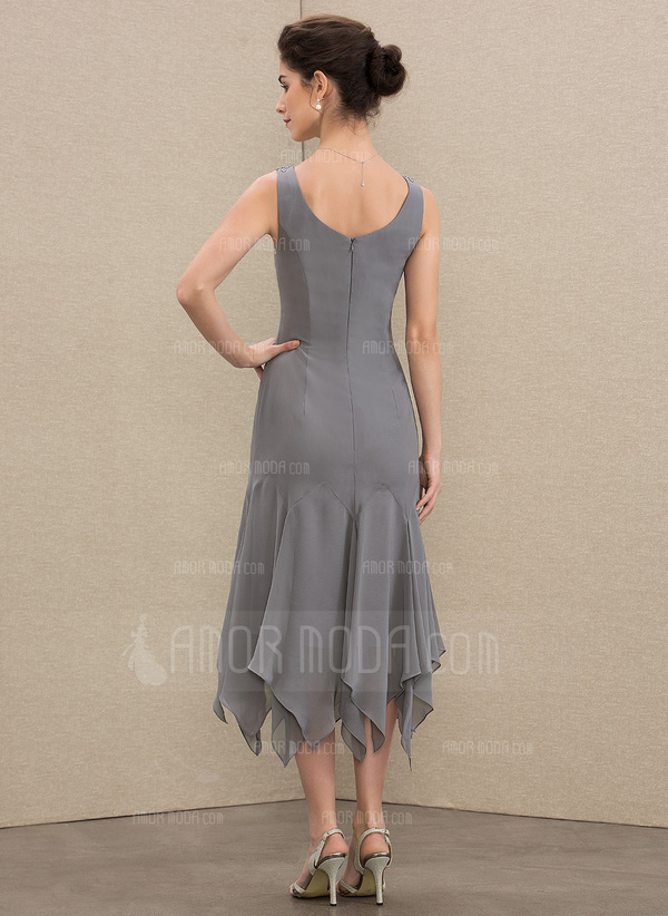 A-Line V-neck Tea-Length Chiffon Mother of the Bride Dress With Lace Cascading Ruffles (008179206)