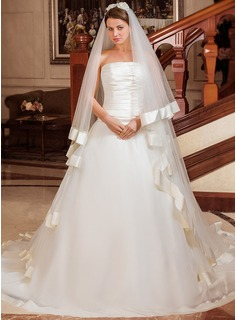 Ball-Gown Strapless Chapel Train Organza Satin Wedding Dress With Cascading Ruffles (002012025)