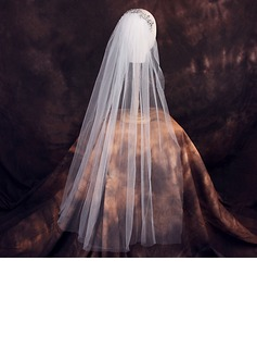 One-tier Cut Edge Elbow Bridal Veils With Rhinestones (006190607)