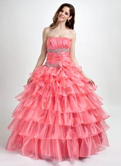 Duchesse-Linie Trägerlos Bodenlang Organza Quinceañera Kleid (Kleid für die Geburtstagsfeier) mit Perlen verziert Applikationen Spitze Gestufte Rüschen (021015780)