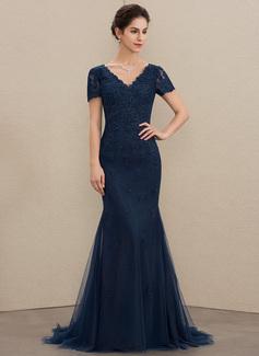 Trompete/Meerjungfrau-Linie V-Ausschnitt Sweep/Pinsel zug Tüll Spitze Kleid für die Brautmutter (008179192)
