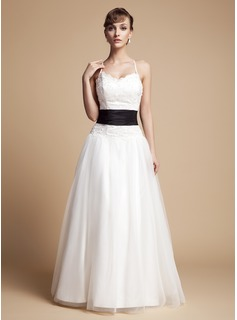 A-Line/Princess V-neck Floor-Length Taffeta Tulle Wedding Dress With Ruffle Lace Sash Beading Bow(s) (002000131)