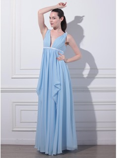 Empire V-neck Floor-Length Chiffon Charmeuse Evening Dress With Ruffle (017012863)