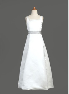 A-Line/Princess Square Neckline Floor-Length Satin Flower Girl Dress With Sash (010002183)