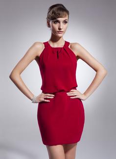 Vestido tubo Cabestro Corto/Mini Chifón Dama de honor (022009216)