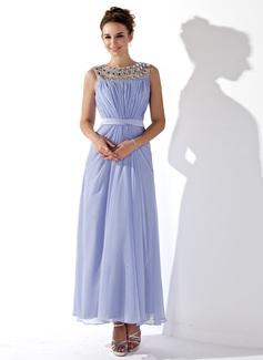 Forme Princesse Col rond Longueur cheville Mousseline Robe bal d'étudiant avec Plissé Emperler (018021121)