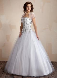 Duchesse-Linie Herzausschnitt Bodenlang Tüll Quinceañera Kleid (Kleid für die Geburtstagsfeier) mit Bestickt (021004553)
