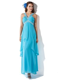 A-Linie/Princess-Linie V-Ausschnitt Knöchellang Chiffon Festliche Kleid mit Perlen verziert Gestufte Rüschen (020025956)