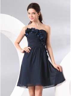 Robe de Cocktail Ligne-A/Princesse Cur Mi-longues mousseline de soie Robe de Cocktail avec Ondul Brod Fleurs (016014084)