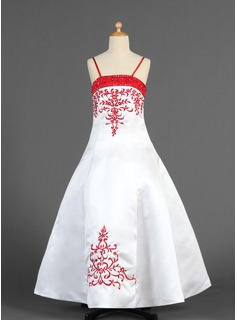A-Line/Princess Floor-length Flower Girl Dress - Satin Sleeveless Straps With Embroidered/Sash/Beading (010005773)