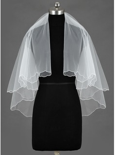 Two-tier Elbow Bridal Veils With Scalloped Edge (006034471)