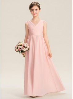 A-Line V-neck Floor-Length Chiffon Lace Junior Bridesmaid Dress With Ruffle (009173313)