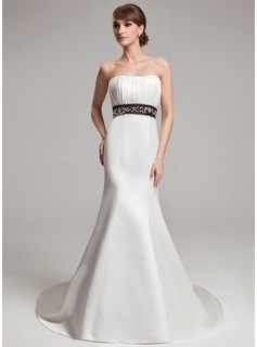 Trumpet/Mermaid Sweetheart Court Train Satin Wedding Dress With Embroidery Ruffle Sash (002000101)