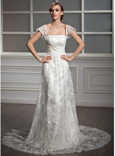 A-Line/Princess Square Neckline Court Train Lace Wedding Dress With Ruffle Beading Sequins (002004755)