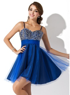 Sweet Sixteen Dresses Empire Sweetheart Short/Mini Tulle Homecoming Dress With Beading Sequins (022020594)