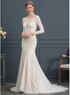 Trumpet/Mermaid Illusion Court Train Lace Wedding Dress (002171965)