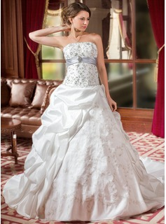 Cheap Wedding Dresses Ball-Gown Strapless Cathedral Train Taffeta Organza Wedding Dress With Embroidery Ruffle Sashes Beadwork Sequins (002004589)
