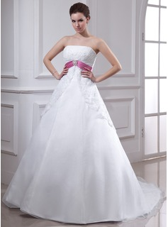 Empire Strapless Chapel Train Organza Satin Wedding Dress With Lace Sash Crystal Brooch (002000129)