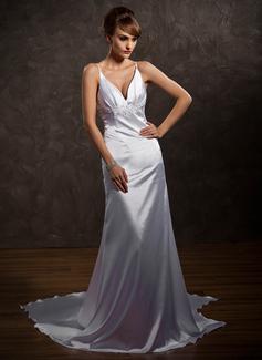 A-Line/Princess V-neck Watteau Train Charmeuse Wedding Dress With Lace Beading (002012102)