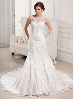 Trumpet/Mermaid V-neck Chapel Train Satin Tulle Wedding Dress With Lace Beading (002000330)