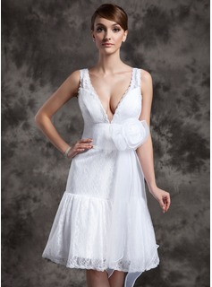 A-Line/Princess V-neck Knee-Length Organza Lace Wedding Dress With Flower(s) (002024078)