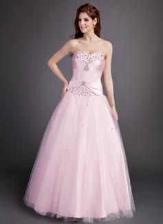 Duchesse-Linie Herzausschnitt Bodenlang Satin Tüll Quinceañera Kleid (Kleid für die Geburtstagsfeier) mit Rüschen Perlen verziert (021004599)