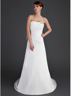 A-Line/Princess Strapless Court Train Chiffon Wedding Dress With Ruffle Beading Feather Appliques (002011443)