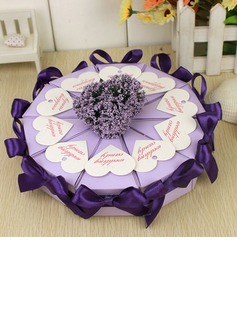 Pyramid Favor Boxes With Flowers/Ribbons (Set of 10) (050031680)
